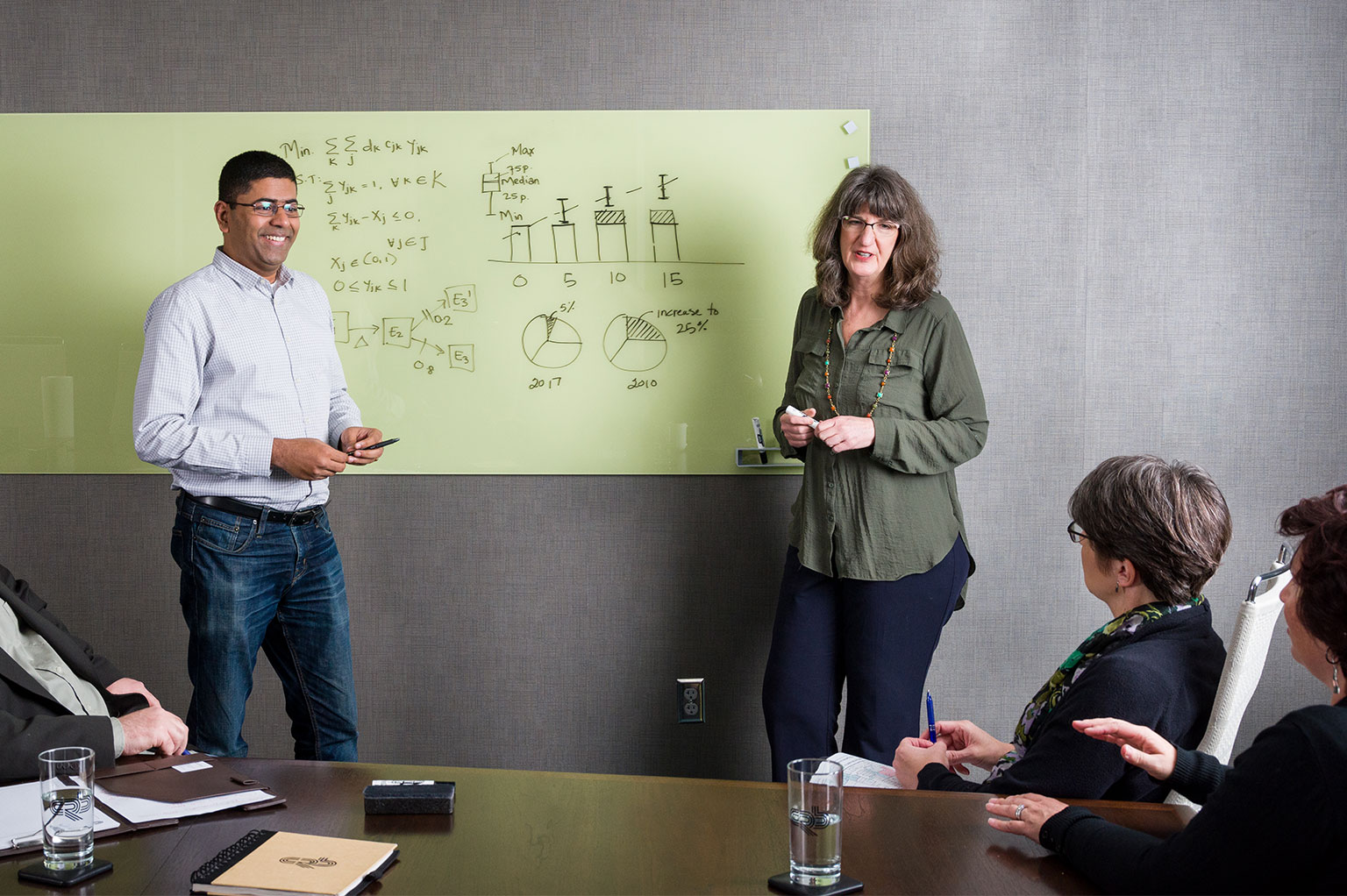 Two people at a whiteboard listening to others