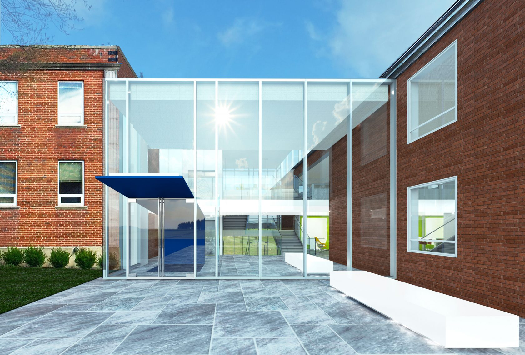EXTERIOR-PERSPECTIVE connecting-stair CRB-rendering