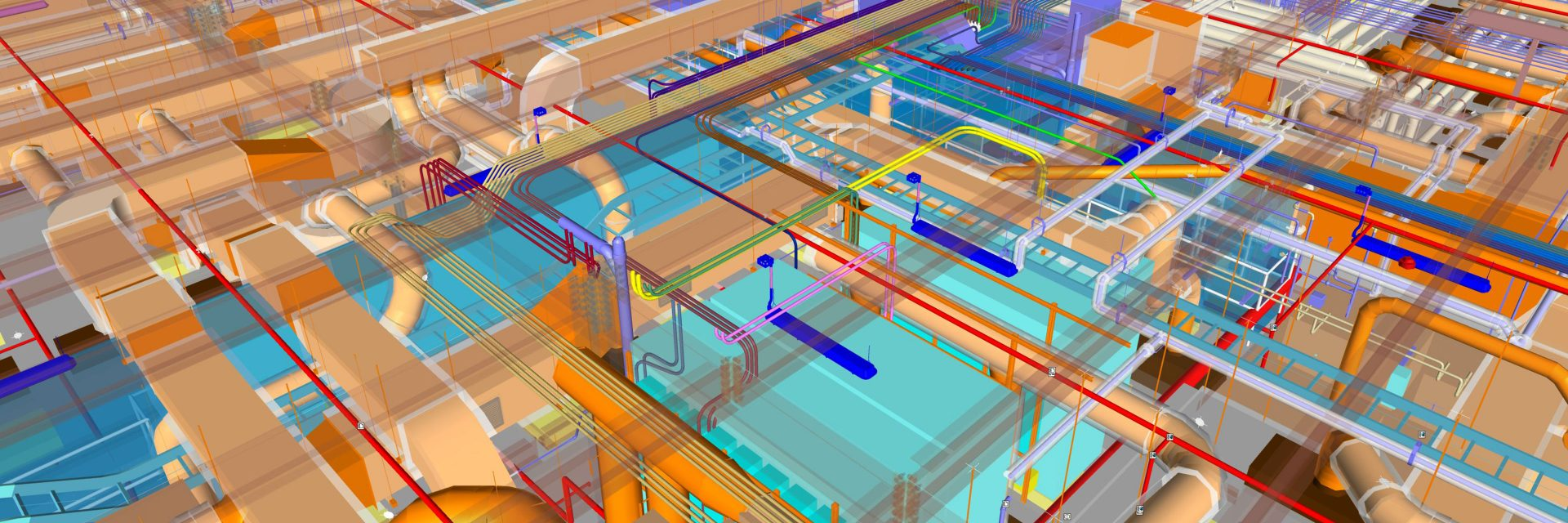 A building information model color coded to show piping, framing and mechanical systems.