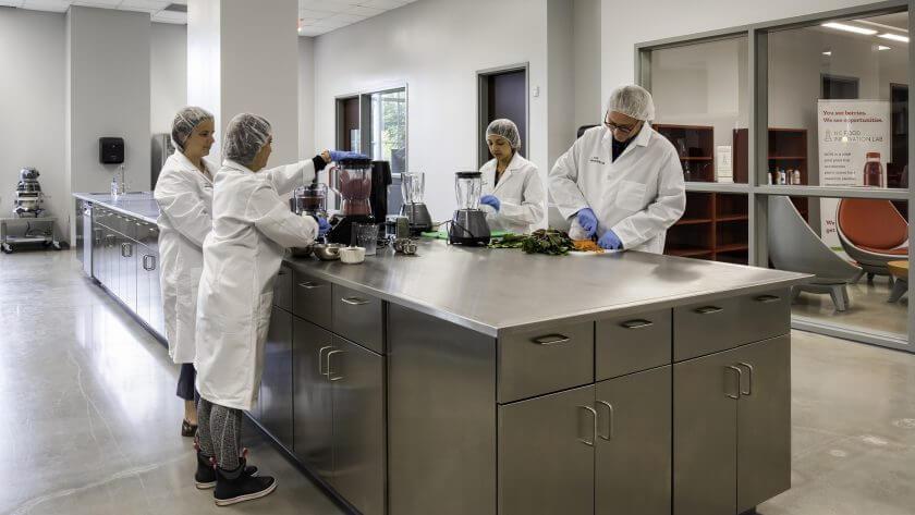 Plant-based food innovation lab test kitchen