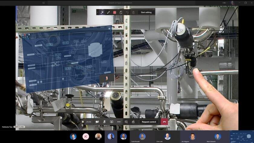 Remote assist used in virtual factory acceptance testing