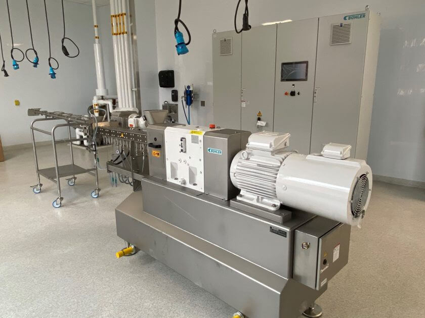 Extruder used for processing plant based protein