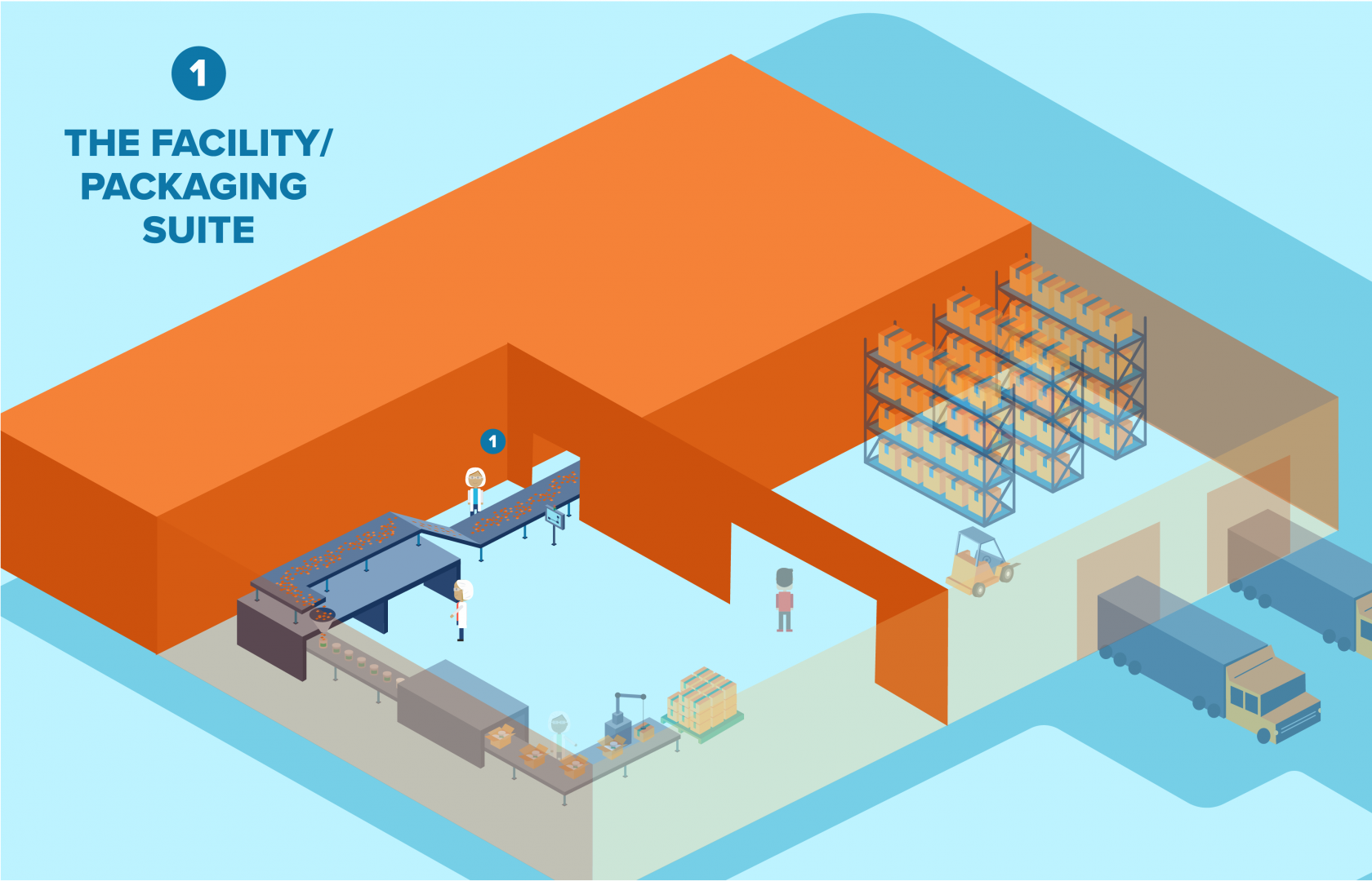 Packaging suite design within a food facility
