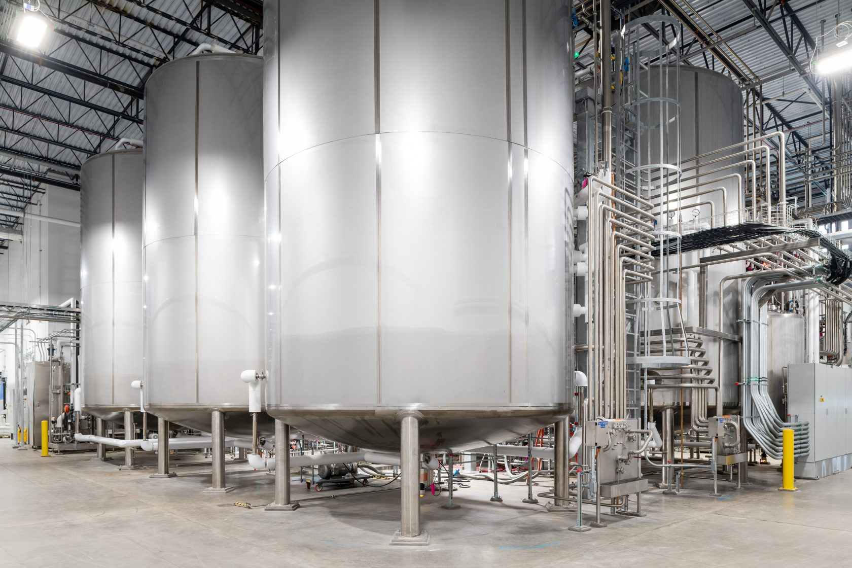 Fermentation tanks used in producing alternative proteins