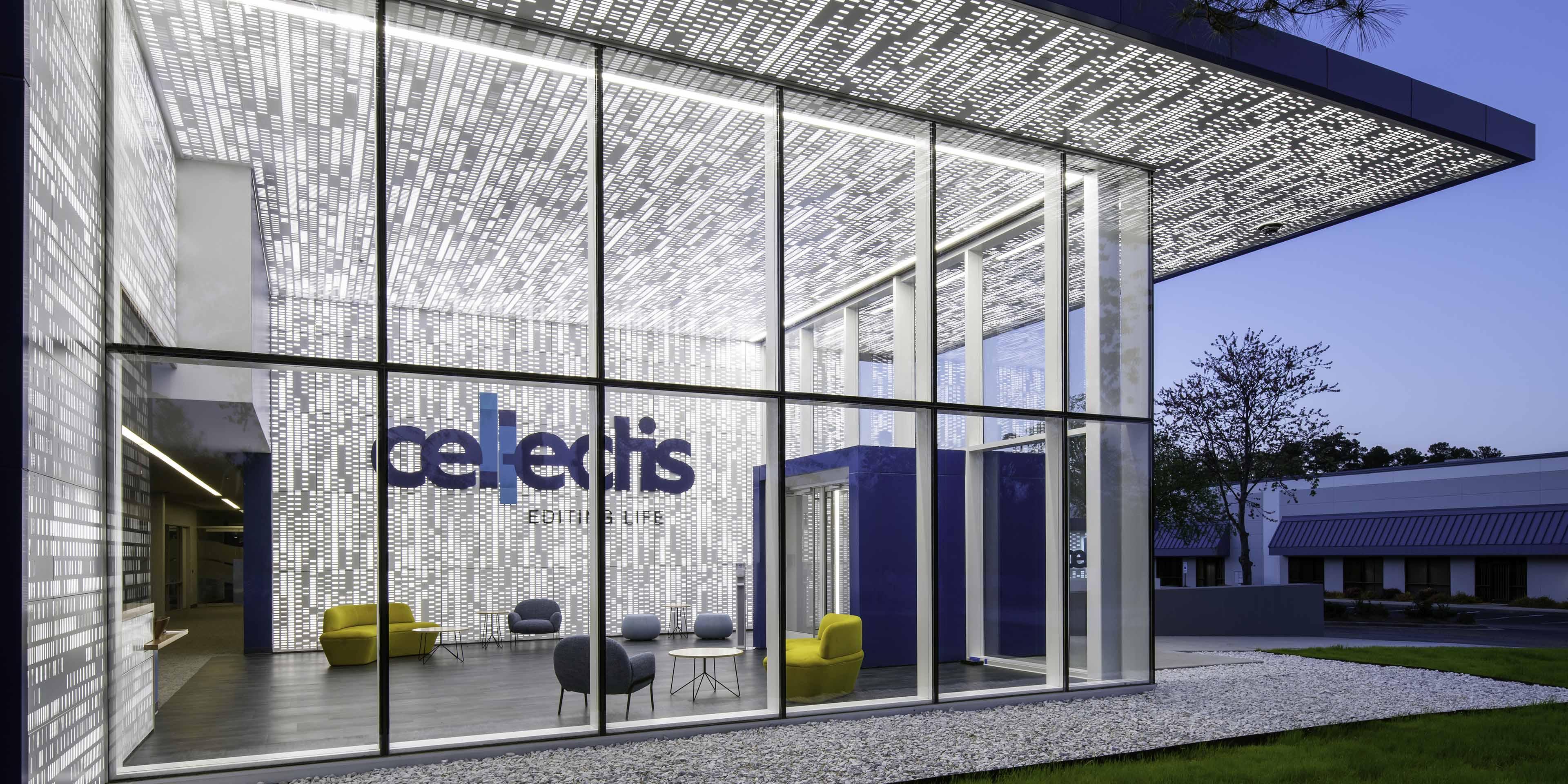 custom designed gene-editing wall at Cellectis