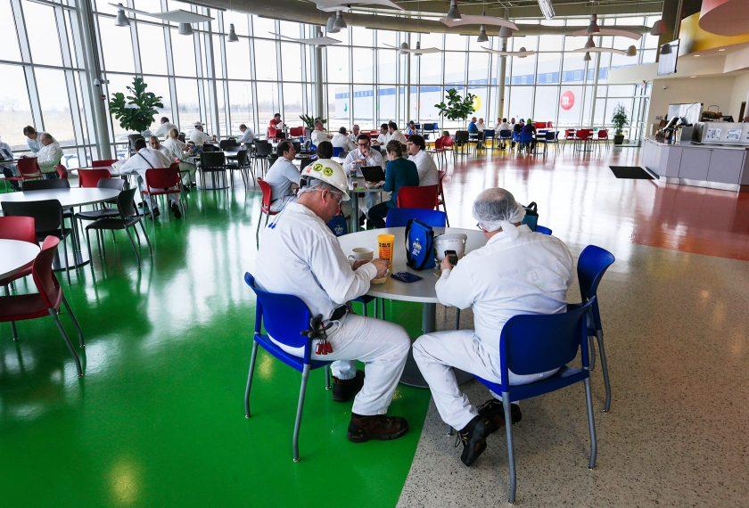Light filled cafeteria at Mars Topeka Kansas facility