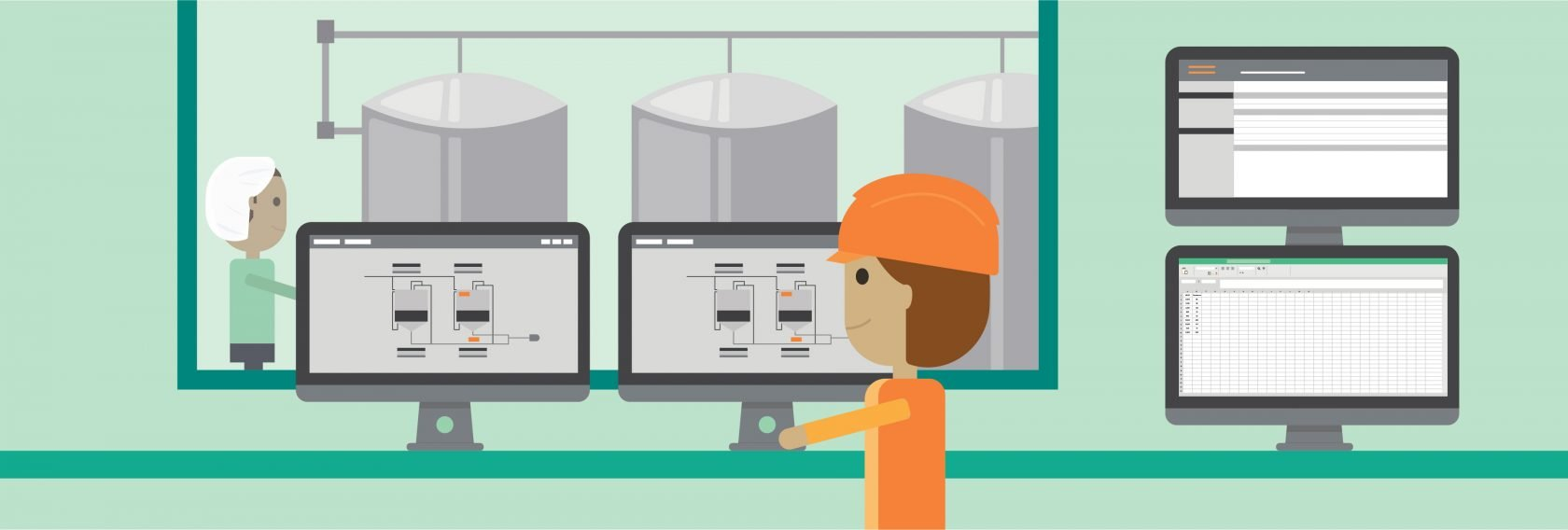 illustration of control room in dairy processing plant
