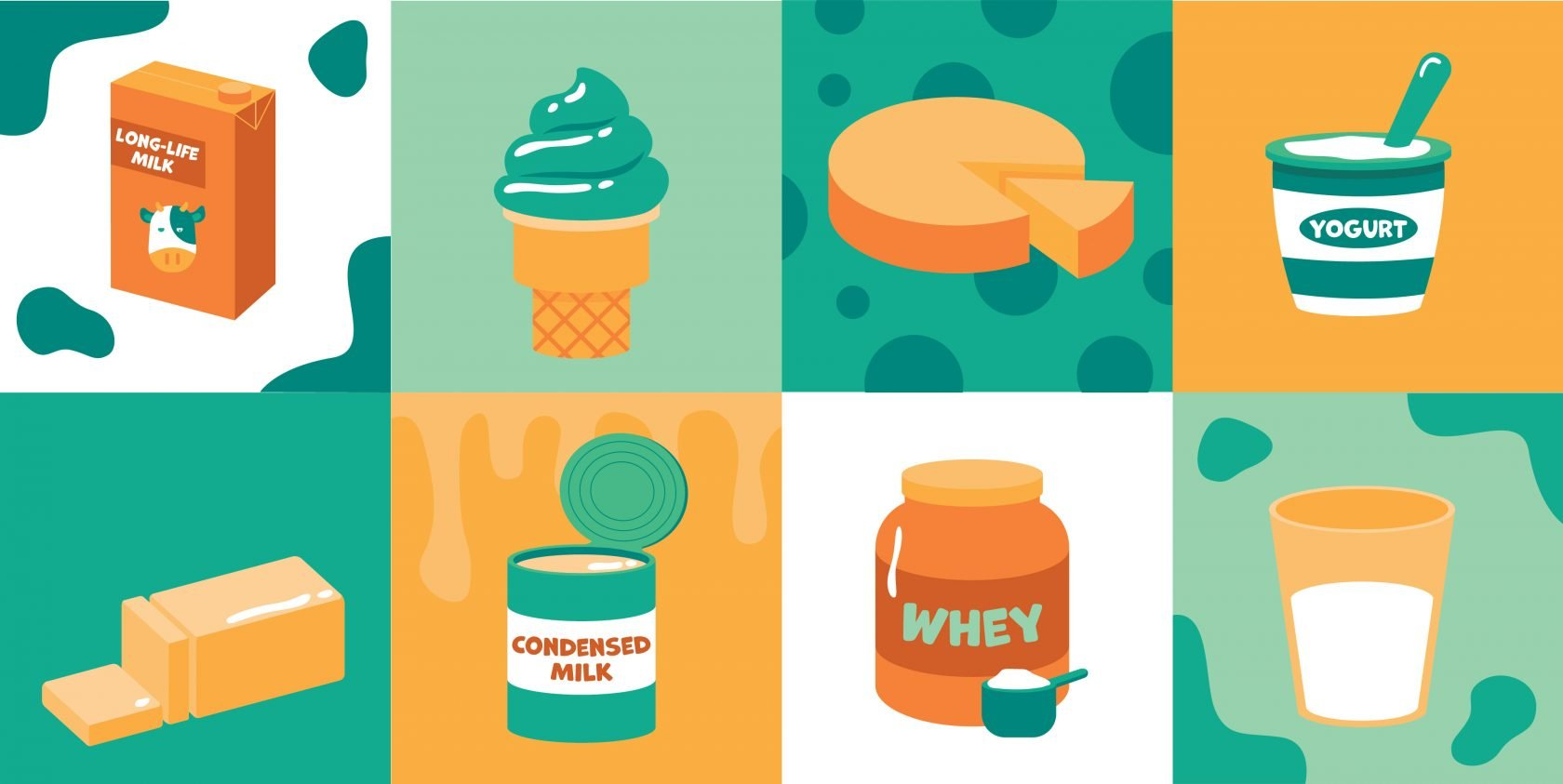 illustration of common foods in dairy processing
