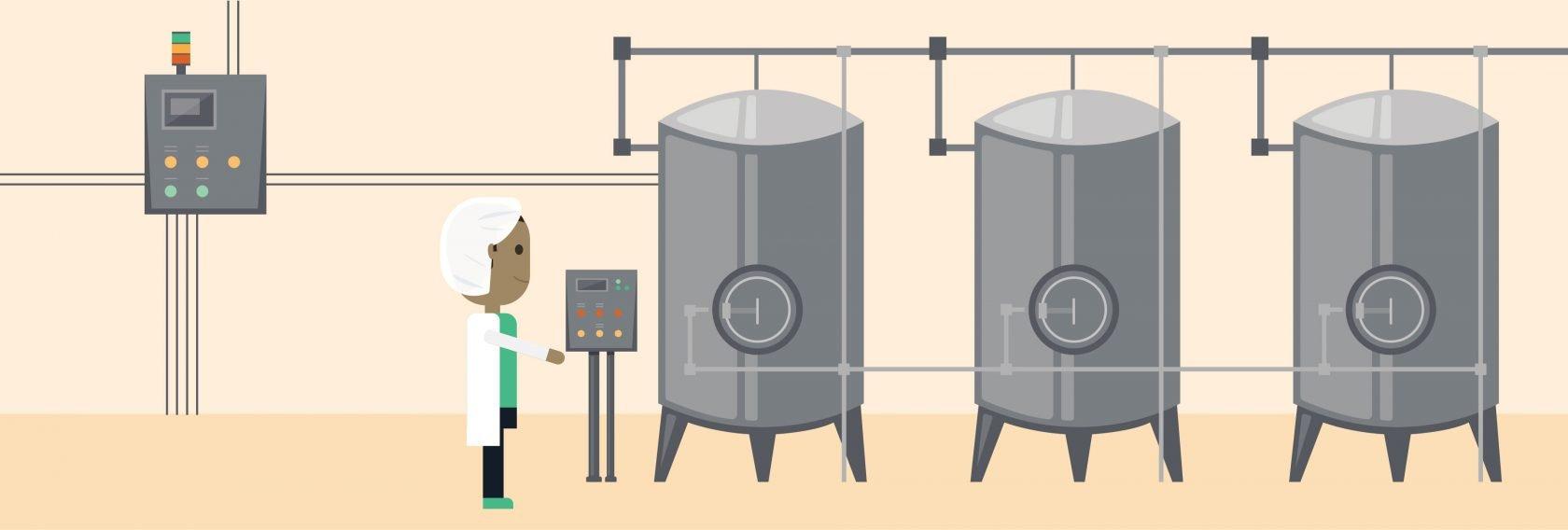 Illustration of dairy processing tanks