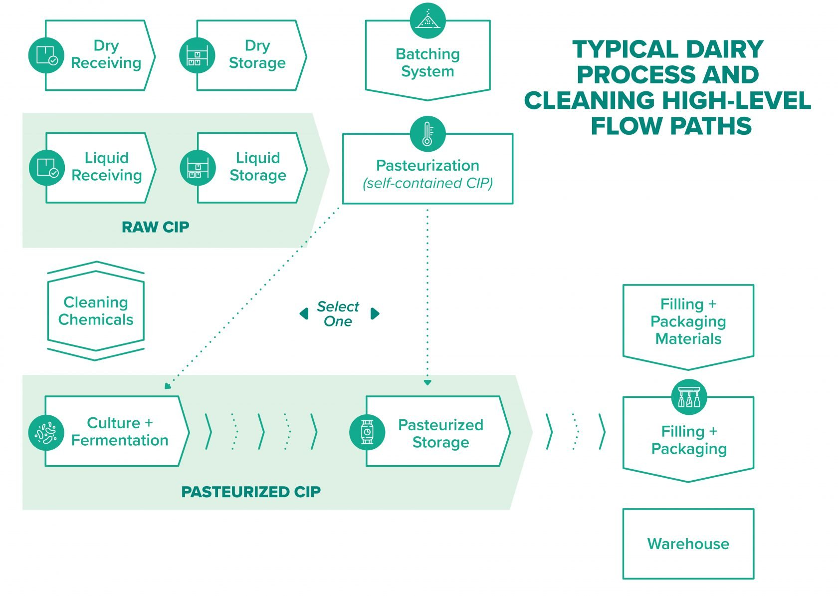 Production steps in dairy processing