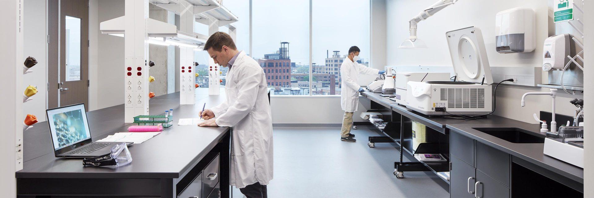 Inside a scientific laboratory